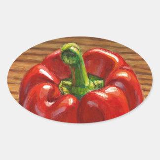 Pegatina Ovalada Paprika Rojo