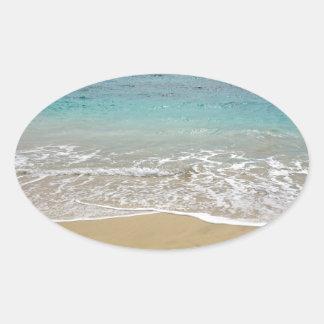 Pegatina Ovalada paraíso tropical