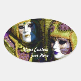 Pegatina Ovalada Pares venecianos coloridos con las máscaras del