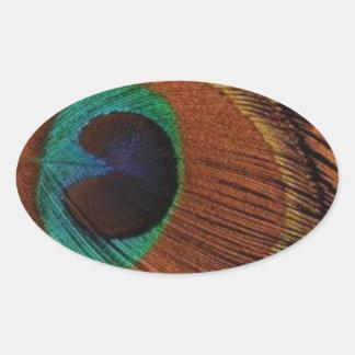 Pegatina Ovalada peacocks-plume-1red y oro