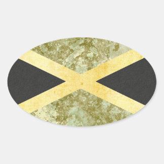Pegatina Ovalada Pegatinas de la bandera de Jamaica