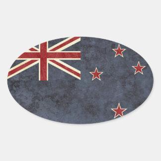 Pegatina Ovalada Pegatinas de la bandera de Nueva Zelanda