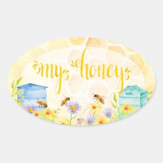 Pegatina Ovalada Pegatinas del tarro de la miel del colmenar de la