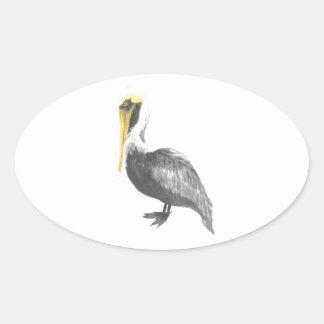 Pegatina Ovalada Pelícano de Brown