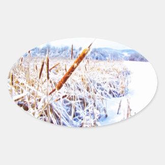 Pegatina Ovalada Perro de maíz en invierno