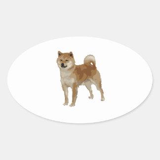 Pegatina Ovalada Perro de Shiba Inu