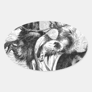Pegatina Ovalada Perro que monta una cabra