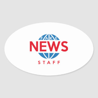 Pegatina Ovalada Personal falso de las noticias