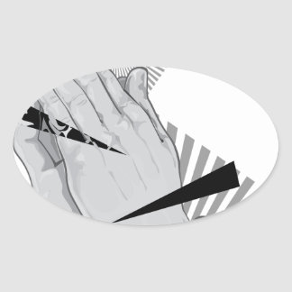 Pegatina Ovalada Pintada de rogación de las manos