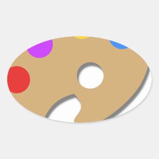 Pegatina Ovalada Pinte la paleta y cepíllela
