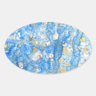 Pegatina Ovalada Pintura azul abstracta