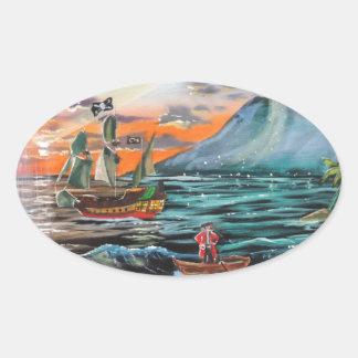 Pegatina Ovalada Pintura de Bell del chapucero de la ensenada del