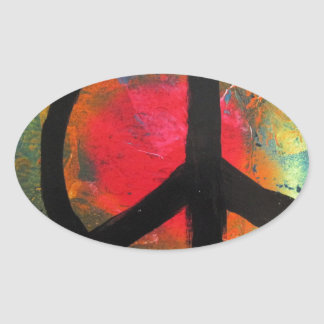 Pegatina Ovalada Pintura del signo de la paz del arco iris del arte