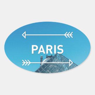 Pegatina Ovalada Pirámide París del Louvre