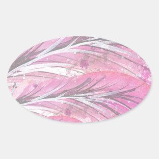 Pegatina Ovalada plumas, color de rosa ligero, elegante,