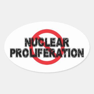 Pegatina Ovalada Proliferación nuclear de la prohibición