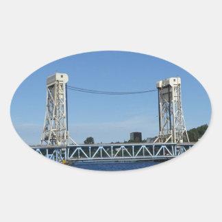 Pegatina Ovalada Puente de elevación del lago Portage