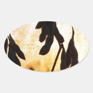 Pegatina Ovalada Puesta del sol de la soja