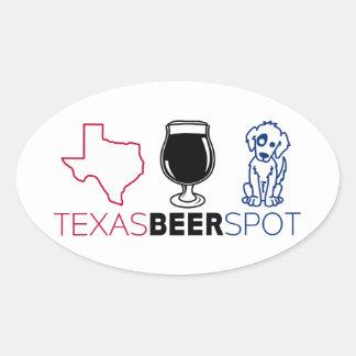 Pegatina Ovalada Punto de la cerveza de Tejas