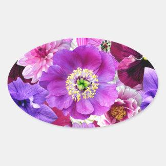 Pegatina Ovalada Purple flowers