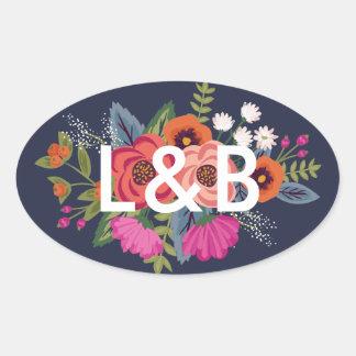 Pegatina Ovalada Ramo bohemio - iniciales del boda de los azules
