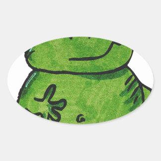 Pegatina Ovalada Rana Frog