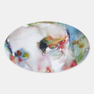 Pegatina Ovalada rand del ayn - retrato de la acuarela