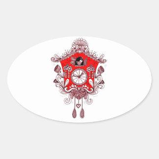 Pegatina Ovalada Reloj de cuco