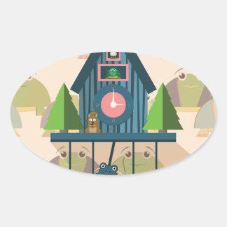 Pegatina Ovalada Reloj de cuco con el papel de empapelar de la