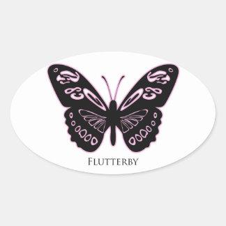 Pegatina Ovalada Resplandor rosado negro de Flutterby
