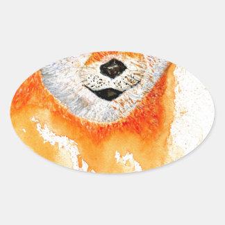 Pegatina Ovalada Retrato de Shiba Inu