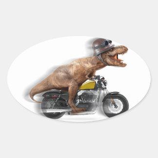 Pegatina Ovalada Rex del motocicleta-tyrannosaurus-t del rex de T -