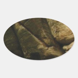 Pegatina Ovalada rocas grises del estruendo