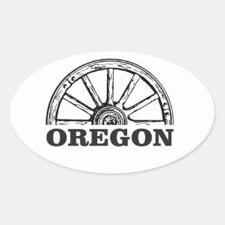 Pegatina Ovalada rueda simple del rastro de Oregon