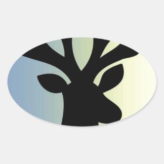Pegatina Ovalada Sea sombra valiente de la cabeza de los ciervos