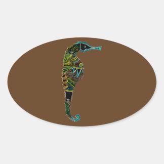 Pegatina Ovalada Seahorse de neón