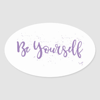 Pegatina Ovalada Ser-Usted Mismo-Tipografía-Púrpura