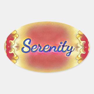 Pegatina Ovalada Serenidad enmarcada inspirada amarilla color de