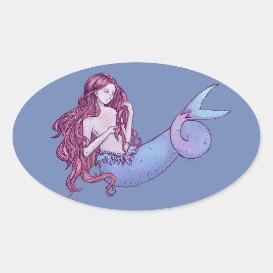 Pegatina Ovalada Sirena, Mermaid