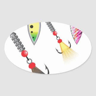 Pegatina Ovalada Sistema de hilanderos que pescan el ejemplo del