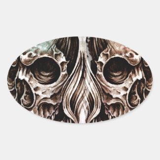 Pegatina Ovalada skull and dragons, Tattoo sketch, handmade design