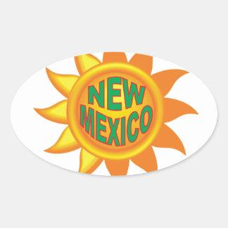 Pegatina Ovalada Sol de New México