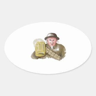 Pegatina Ovalada Soldado del tío Sam WW1 que tuesta la acuarela de