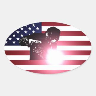 Pegatina Ovalada Soldador y bandera americana