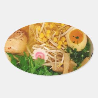 Pegatina Ovalada Sopa de fideos de los Ramen del cerdo