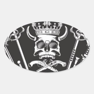 Pegatina Ovalada Sr. Skull