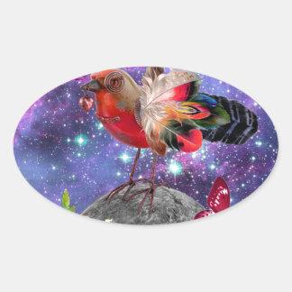 Pegatina Ovalada Steampunk Bird