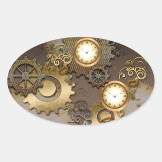 Pegatina Ovalada Steampunk, relojes y engranajes