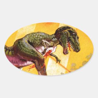 Pegatina Ovalada T-Rex contra el tanque de Sherman