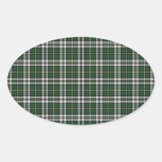 Pegatina Ovalada Tartán verde del bretón del cabo